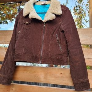 Brown faux sherpa curdoroy cropped jacket by Mossimo